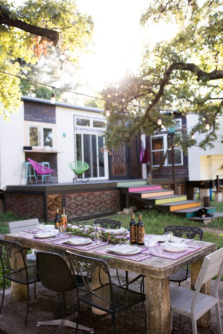 Owners of The Infinite Monkey Theorem, an urban winery located in South Austin, Meredith & Aaron invite guests over to their tiny house for a potluck dinner