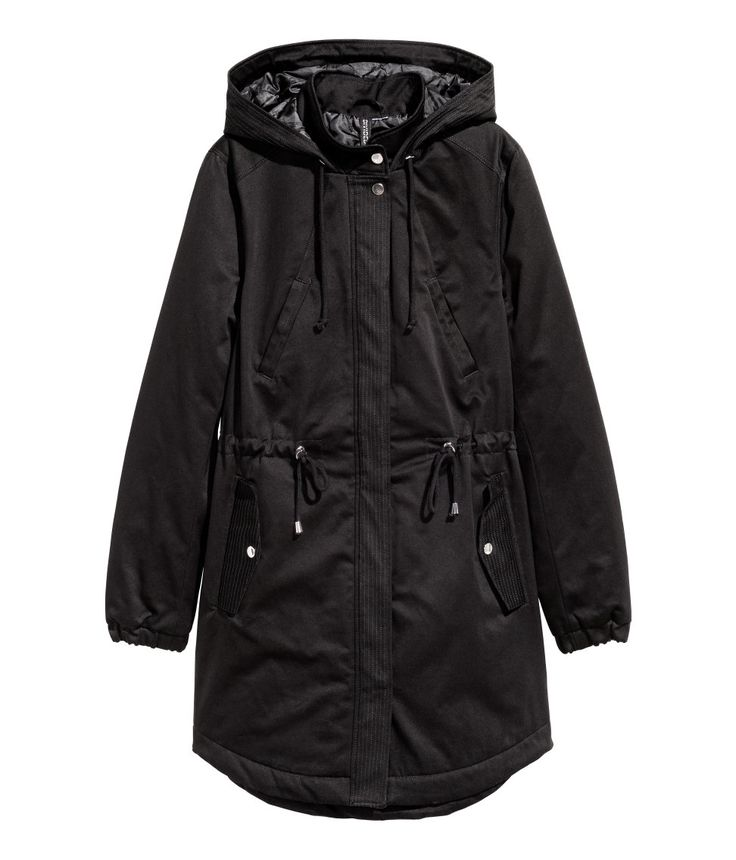 $60 Check this out! Long, padded parka in cotton twill with a drawstring hood, stand-up collar with a press-stud, zip and flap with press-studs at the front, elastication at the cuffs, drawstring at the waist and a gently rounded hem. Handwarmer pockets with a press-stud, and flap side pockets with a press-stud. Slightly longer at the back. Lined. - Visit hm.com to see more.