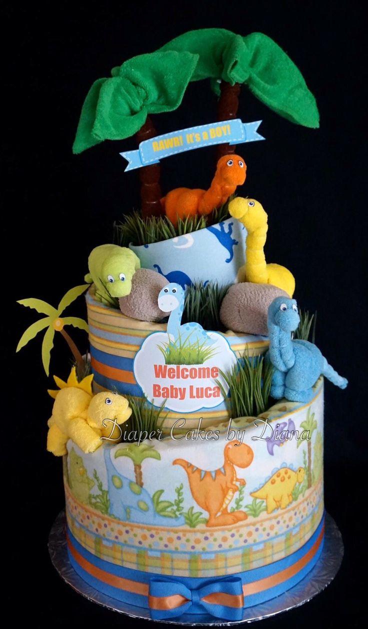 Dinosaur Diaper Cake  www.facebook.com/DiaperCakesbyDiana