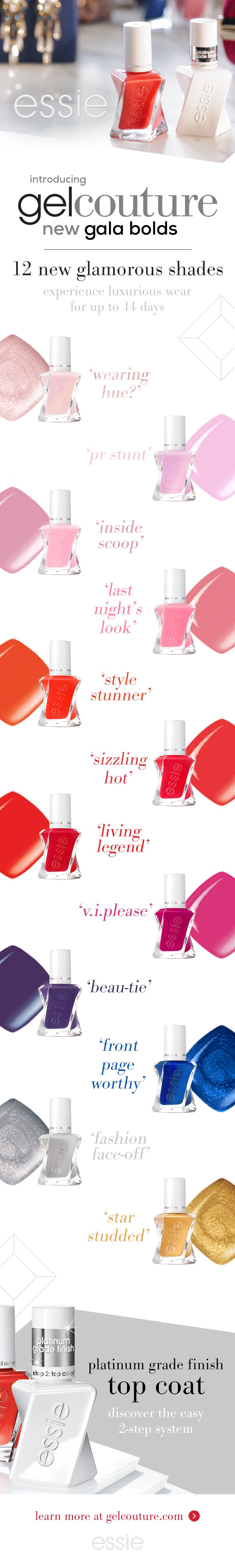 introducing 12 new VIP bold gel nail polish shades inspired by fashion's hottest black tie event. essie gel couture gala bolds is a new addition to the gel couture line bringing new bold nail colors in rich, vibrant shades of gold, red, pink, cobalt and amethyst. the platinum-grade top coat features a platinum ingredient key for a longwear, gel-like mani. this twist on a classic provides up to 12/14 days of wear in an easy 2-step system – no base coat or lamp needed for a perfect gel-like…