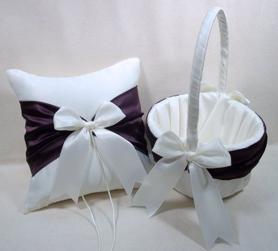 Use coupon code PINITFREESHIP for FREE shipping! Eggplant  Plum Purple  & Ivory or White  Ring Bearer Pillow & Flower Girl Basket set by Jessicasdaydream