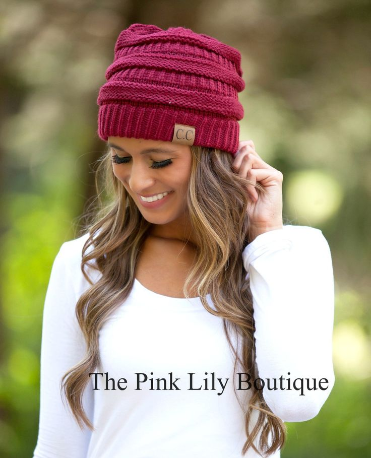 The Pink Lily Boutique - Burgundy Knit Beanie, $15.00 (http://thepinklilyboutique.com/burgundy-knit-beanie/)