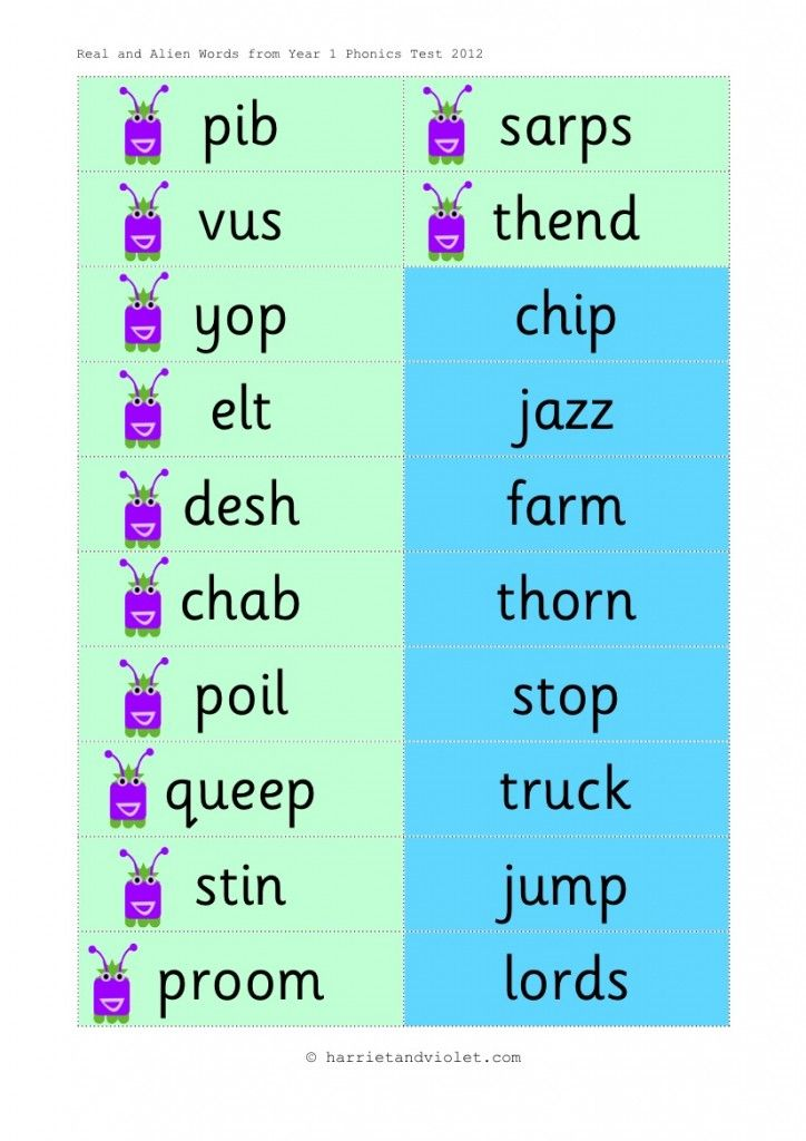 Year 1 Phonics Test Flashcards Alien (Pseudo) & Real Words - Harriet & Violet Early Years (EYFS), KS1, KS2, Primary & Secondary School teaching help, ideas and free teaching resources for the classroom. We love sharing free teaching resources!