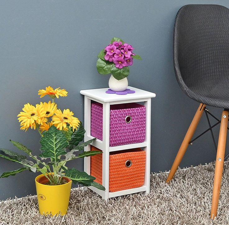 ts-ideen - Armario de suelo para baño (con 2 cestos, altura de 44 cm), color naranja, blanco y lila: Amazon.es: Hogar