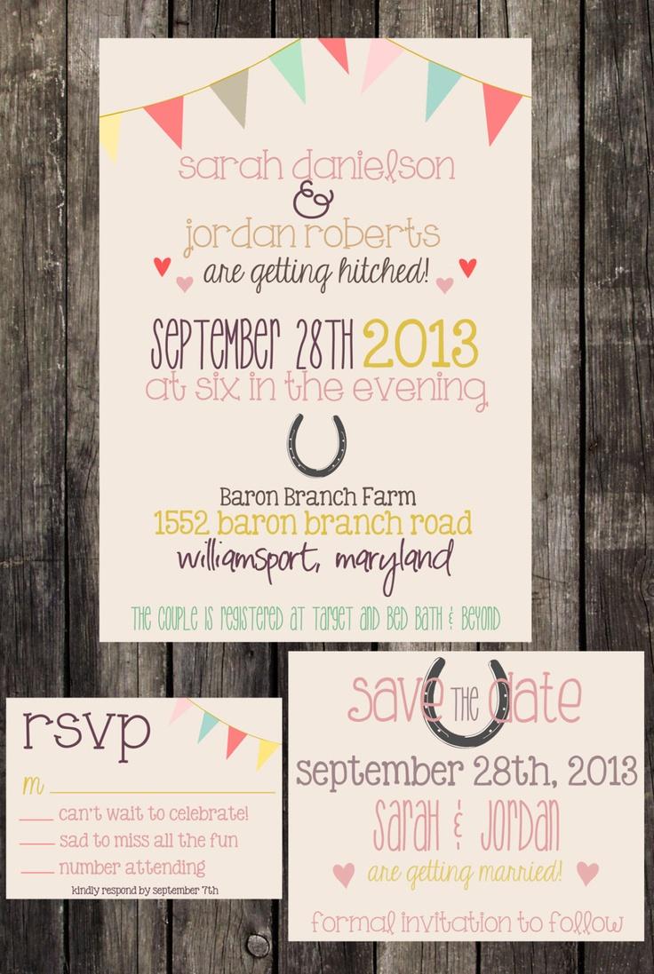 DIY Printable Bunting Horseshoe Wedding Invitation Suite. $30.00, via Etsy.