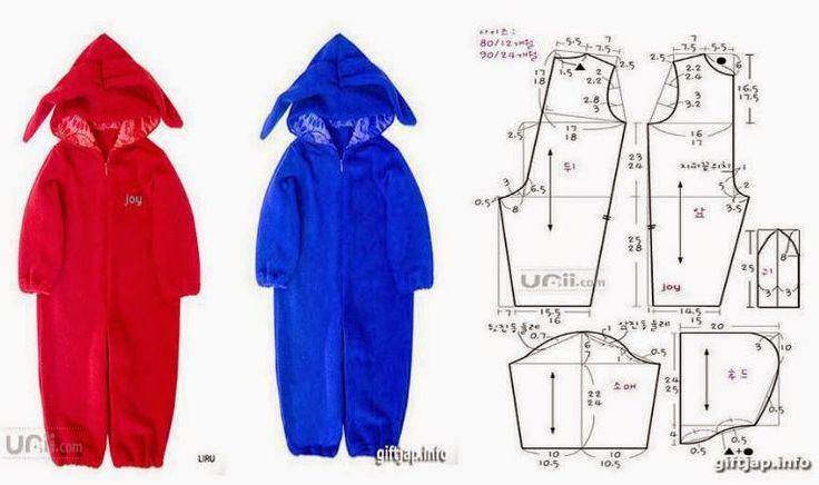Moda e Dicas de Costura: MACACÃO DE CRIANÇA COM CAPUZ