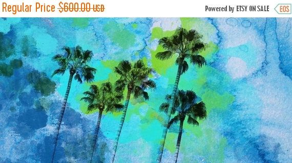 Palm trees on the beach Large Canvas Print 30 x 60. Palm