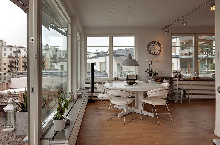 Love this open space via Grey and ScoutSwedish Flats, Tops Floors, Stockholm Apartments, Scandinavian Interiors, Dining Chairs, Garages Apartments, Interiors Design, Dining Spaces, Apartments Interiors