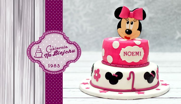 tort dla dziewczynki, tort Minnie, tort różowy, różowo biały, tort urodzinowy dla dziewczynki, tort na roczek, Myszka Minnie, Myszka Miki