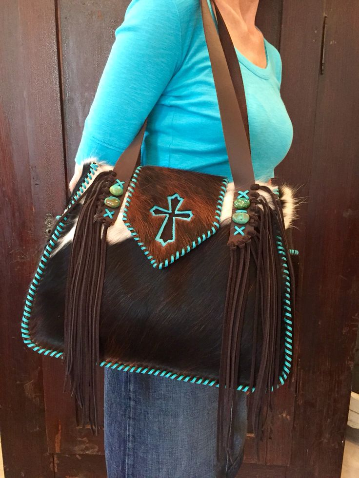 The Bonnie Bag with turquoise and brown suede cross. gowestdesigns.us
