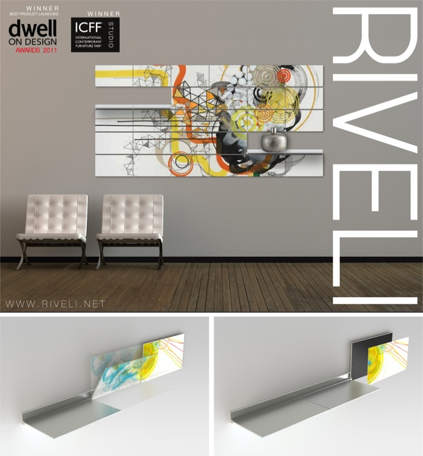 RIVELI Shelving System. Wall mounted furniture system that dynamically incorporates artwork within pivoting shelves.