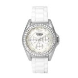 Fossil Women's ES2344 White Silicone Strap Silver Glitz Analog Dial Multifunction Watch (Watch)By Fossil