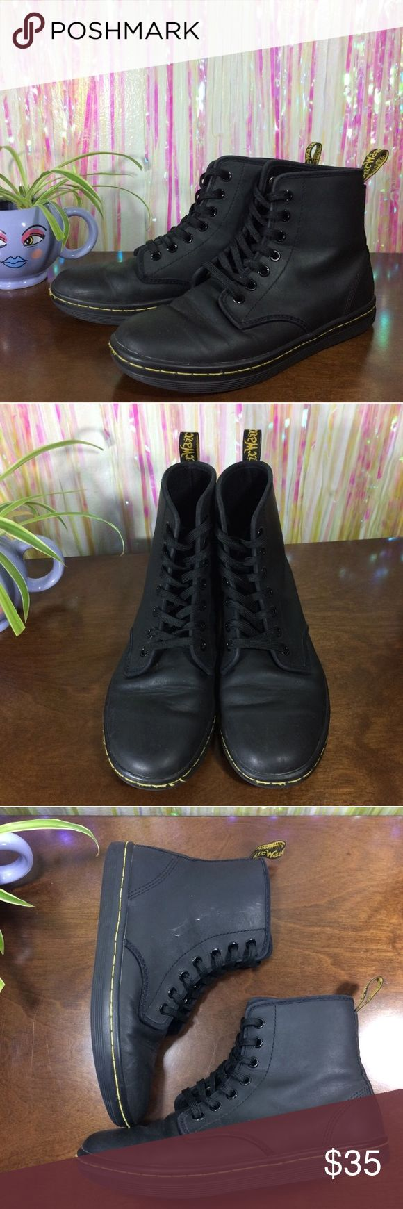 """Dr. Martens Shoreditch Sneaker Boots UK 4. US Women's 6. Retail $90. Black soft matte leather. Normal creasing. Signs of wear on heels. Rub off on inner sides & tongue. Piling in interior. Reflected in price. Relisted since previous buyers account was deleted.  Insole - 9.5""""  *I'm not responsible for the fit of an item*  🚫 I don't discuss prices through comments, please use the offer button!  ⚡️ Same-day or next-day shipping 📬 All packages handled with care 👽 Follow for new items & sale…"""