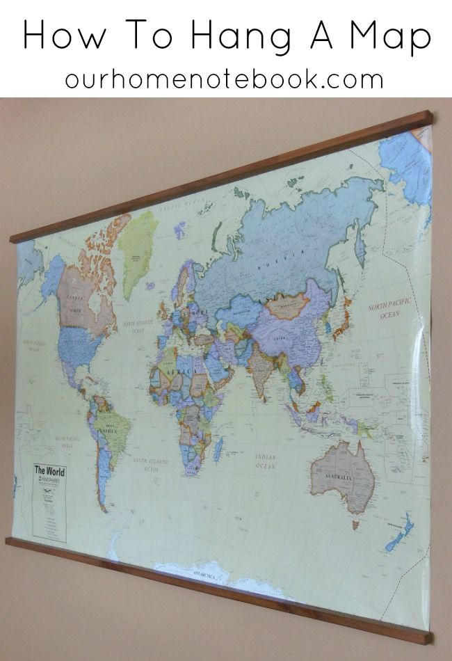 Want a simple way to hang a large scale map or poster? Here's how with step by step instructions.