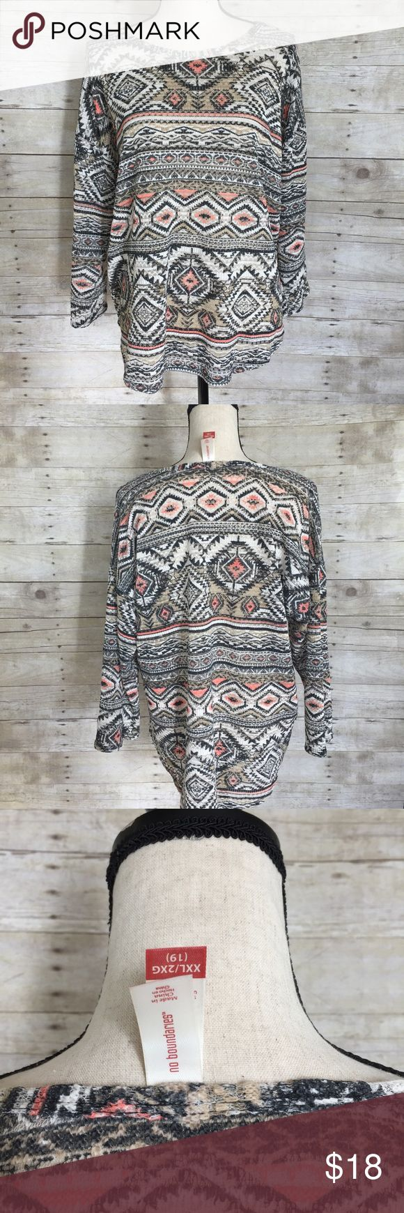 No Boundaries Aztec Long Sleeve Knit 2 XL This knit top is so cute with such pretty colors. Aztec design. No tears, snags or stains. Tops Tees - Long Sleeve