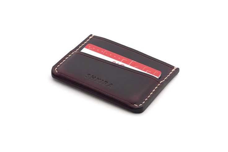 Personalized Leather Card Holder Wallet  Horween Chromexcel Ox Blood
