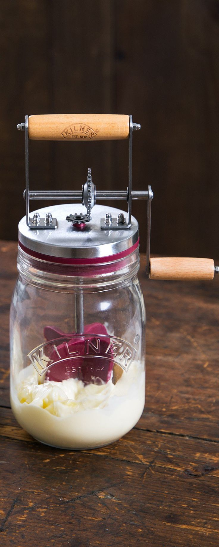 Make homemade butter in about 10 minutes. This modern update of an old-fashioned churner was designed by a trusted English glass jar maker.