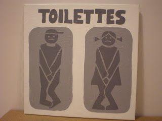 Kdo Pancarte pour les toilettes, dessin repiqué du mariage de Nanounyme. Peinture acrylique