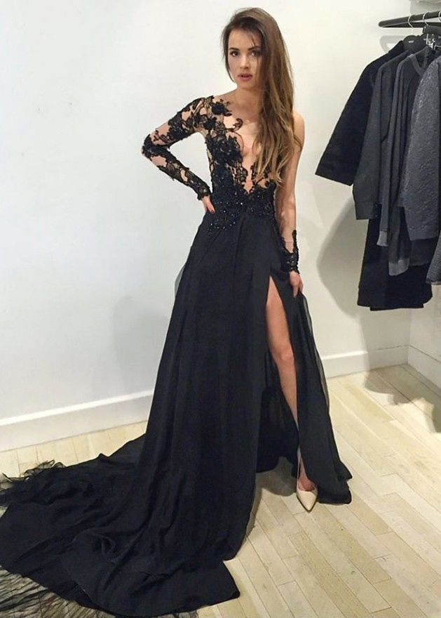 Floor Length Prom Dresses, Prom Dress with Alluring Front Split ,Simple Long Party Dresses,Long Sleeve Prom Dress