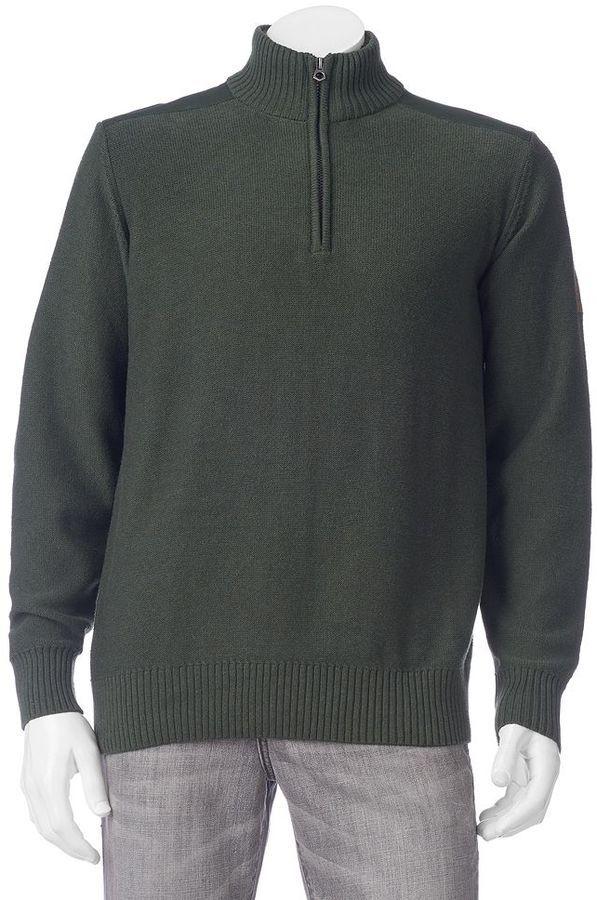 Men\u0027s Field \u0026 Stream Sherpa,Lined Quarter,Zip Pullover, Size Medium, Beig/ Green (Beig/Khaki)