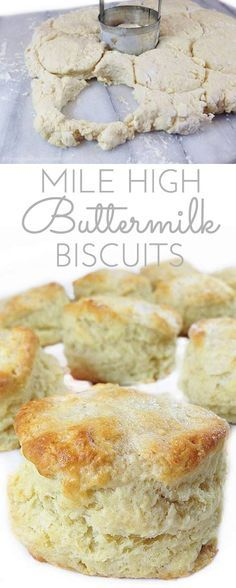 Mile High Buttermilk Biscuits. Light & flaky traditional New England biscuits that rise high. Easy to make. Yummy to eat. Butter & jam. Uh huh.