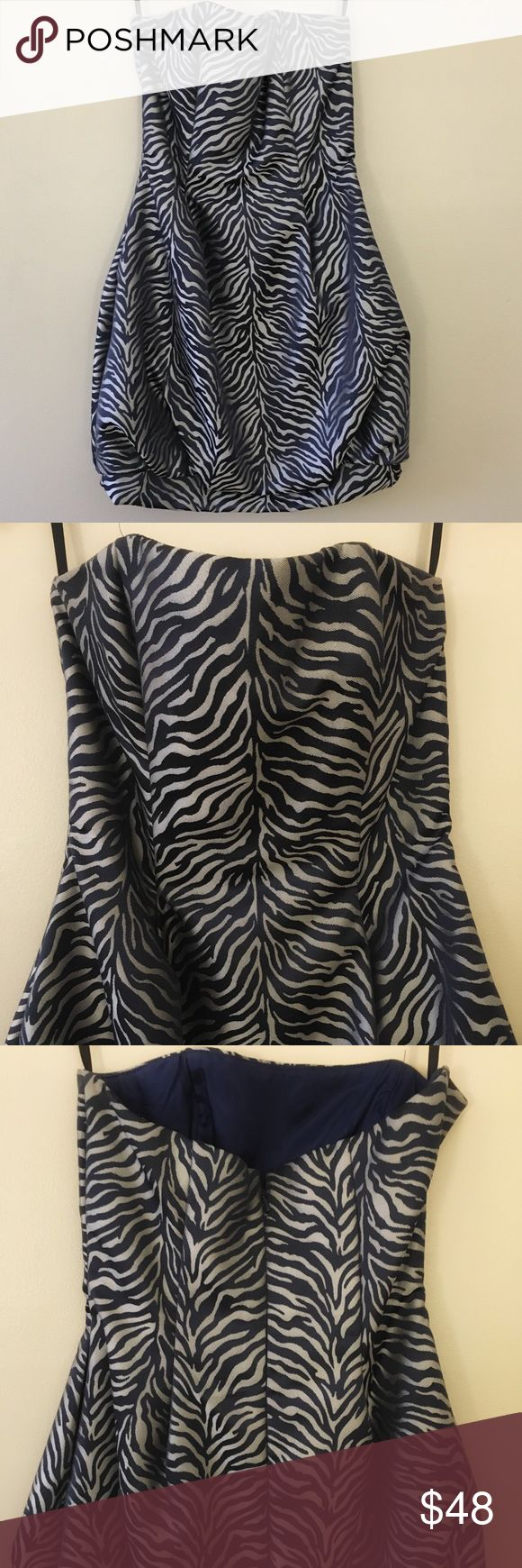 Navy & silver zebra print cocktail dress Dark navy and silver mini party dress WITH POCKETS. Bottom detail as pictured. Slight flare / bubble skirt Cache Dresses Mini