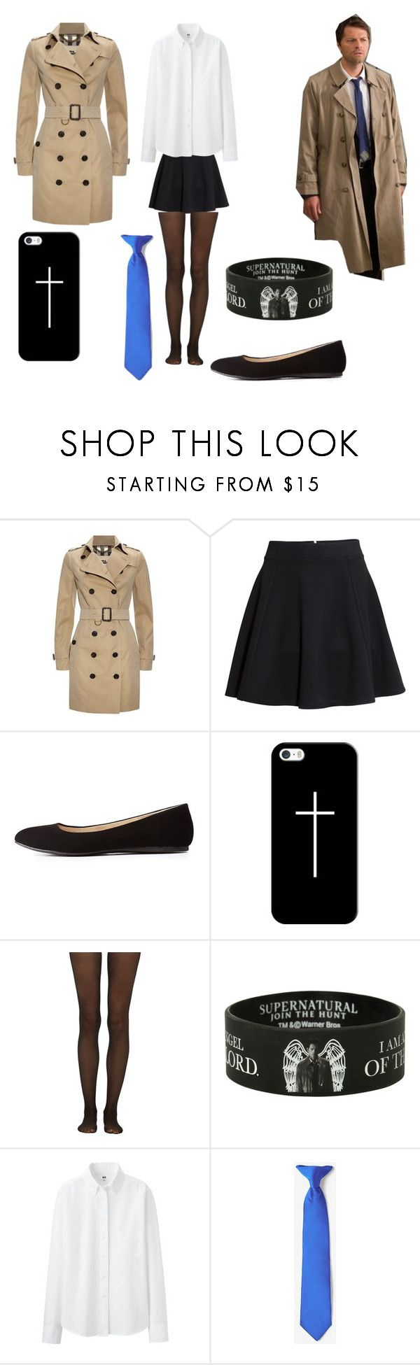 """""""Supernatural Castiel Cosplay (female)"""" by vivaciousfangirl ❤ liked on Polyvore featuring Burberry, H&M, Charlotte Russe, Casetify, Fogal and Uniqlo"""