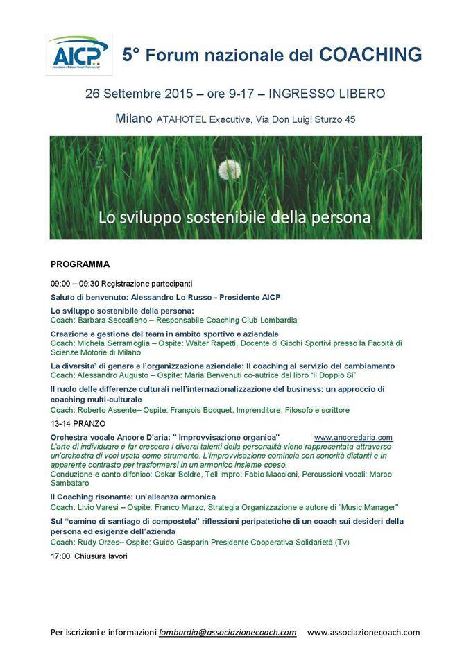 26 Settembre 2015 - Milano - 5'Forum Nazionale sul Coaching Aicp