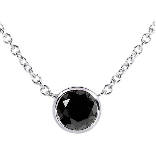 Black Diamond Solitaire 3/4 Carat Round Bezel Necklace in 14K Gold (16... ($310) ❤ liked on Polyvore featuring jewelry, necklaces, gold chain necklace, 14 karat gold necklace, cable chain necklace, white gold pendant and white gold necklace