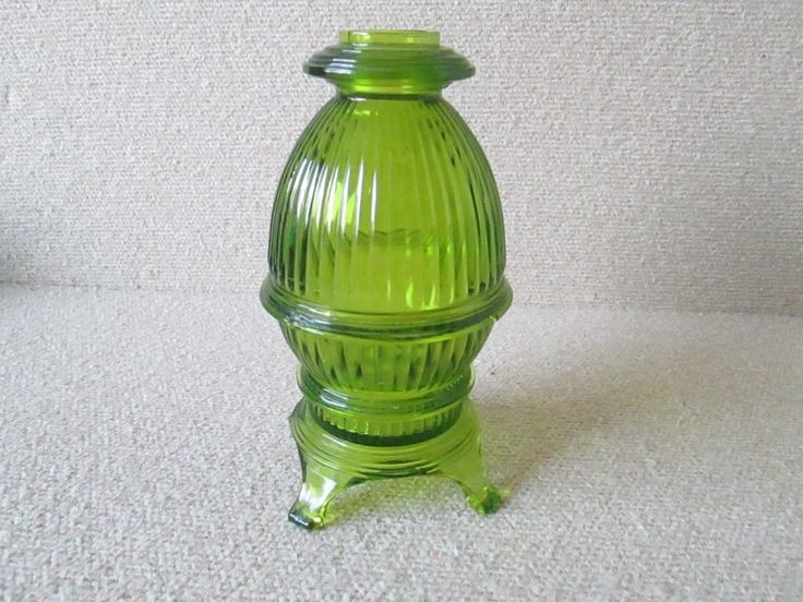 Vintage Green Viking Art Glass Pot Belly Stove 2pc Candle Tea Fairy Lamp Light #PotBellyStove