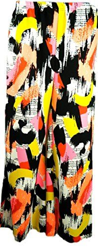 Fashion Oasis Womens Standard  Plus Plain  Floral Print Palazzo Trousers 1618 Artistic Paint Strokes * Details can be found by clicking on the image.