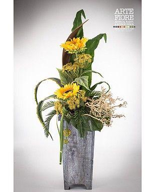 Composizione con girasoli in vaso di legno composizioni - Decorazioni fiori finti ...