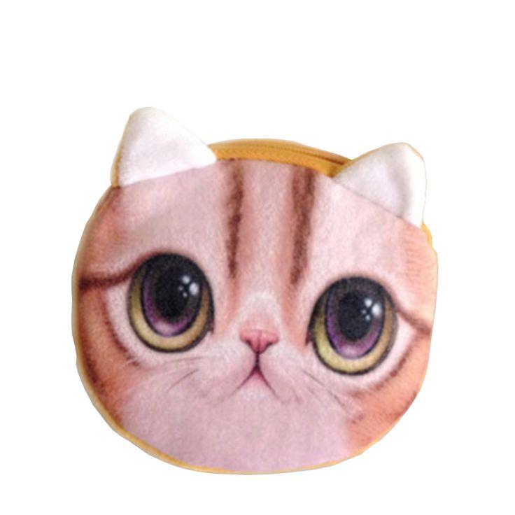 NICE Clearance Cheap deal Kids Cat Dog Face Zipper Case Coin Women Purse Wallet Makeup Bag Pouch
