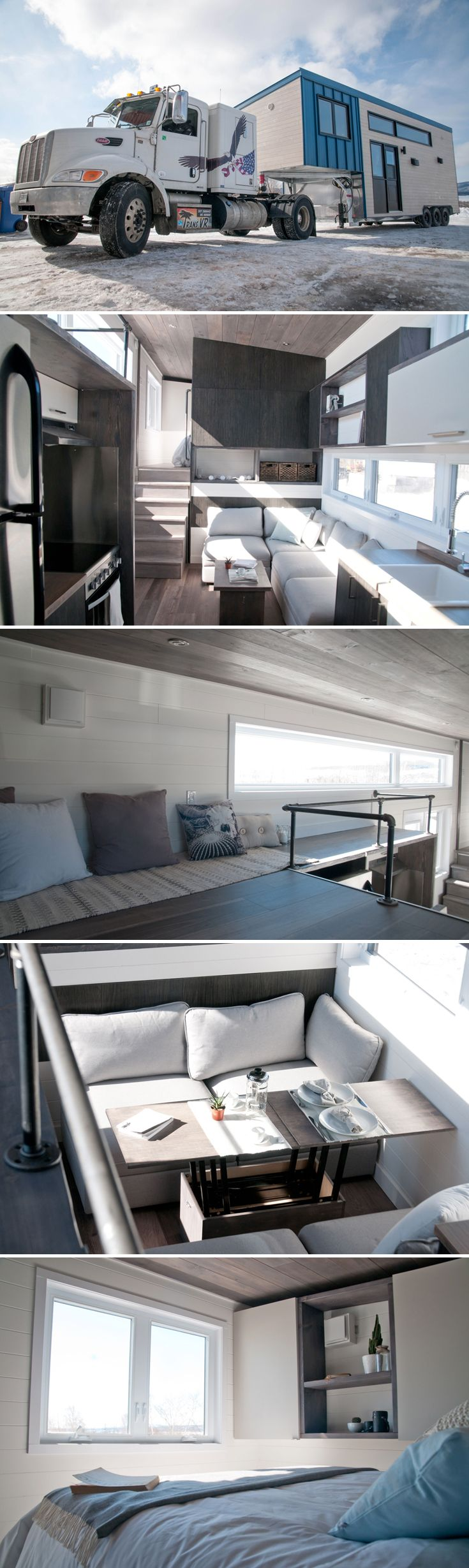The Sakura is a 380-square-foot gooseneck tiny house built by Minimaliste in Quebec, Canada. Comes with an 80-square-foot red cedar rooftop terrace!