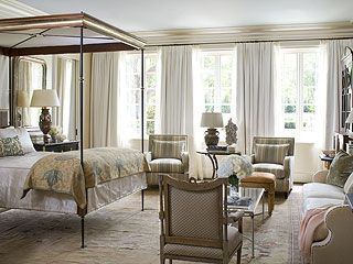 view of a bedroom in an English-style home in Fort Worth, Texas designed by Joe Minton, featured in Southern Accents