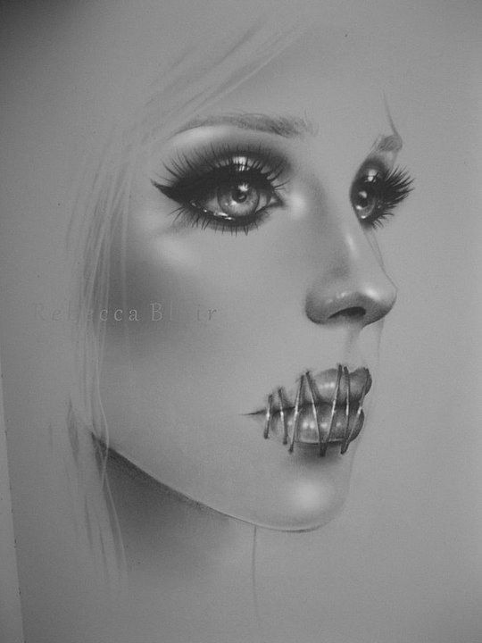 Pencil Portraits by Rebecca Blair (How I felt most of my life due to Narcissistic manipulations which made it impossible for me to tell my story - most people don't believe me when I speak about my childhood and life with Malignant Narcissists)