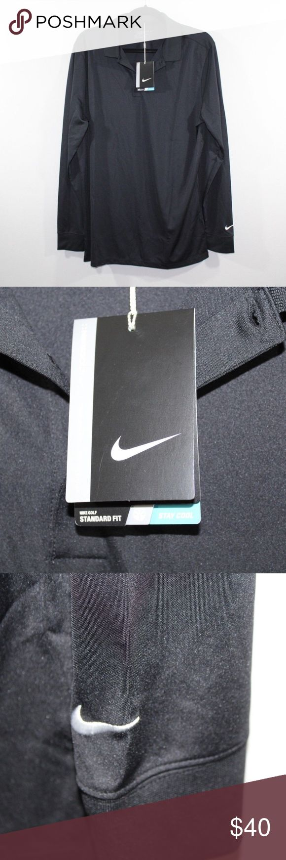New Nike Golf Standard Fit Long Sleeve Polo Shirt Nike Golf Standard Fit Long Sleeve Golf Polo Shirt  Golf Polo  New  Black   The size is Large and the measurements are 24 inches underarm to underarm and 31 inches shoulder to base.   Polyester   Check out my other items in my store Vogue Squared!   M10 Nike Shirts Polos
