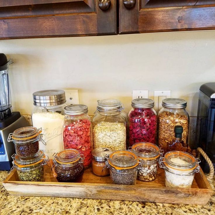 There were so many questions about this post, hopefully I answer all of them here: Jars are KILNER brand, although any glass jar such as canning jars work GREAT for storage. The white stuff is protein powder. I like Jay Robb whey - use YOUR fave...
