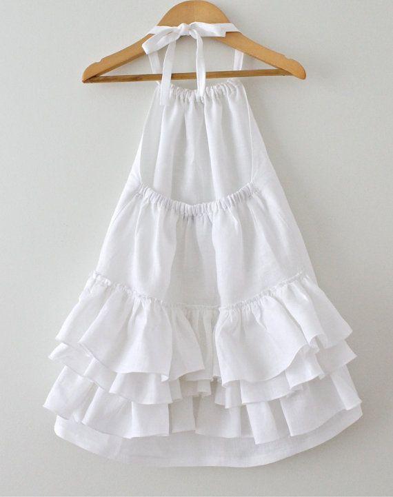 Girls White Linen Dress Toddler Ruffled Halter Dress Baby