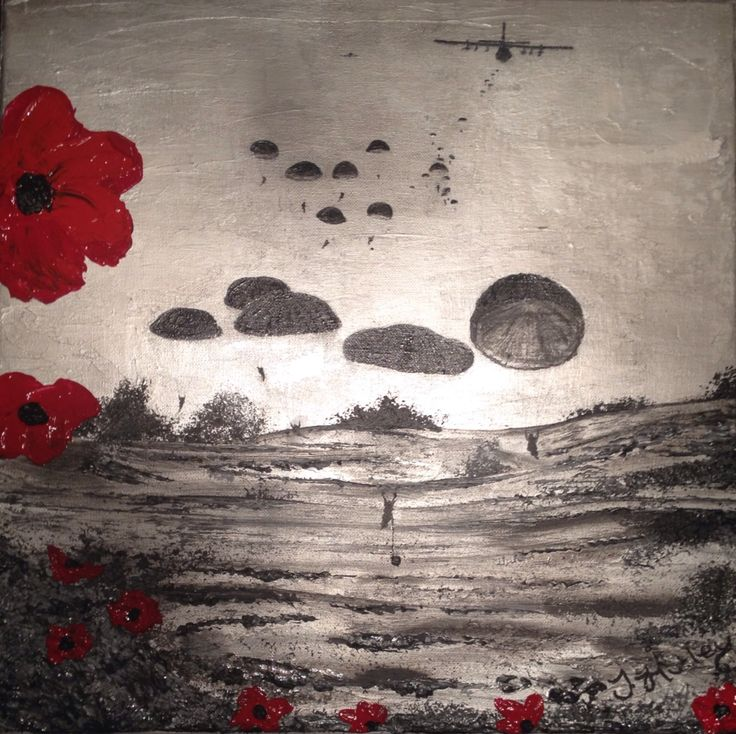 "By Jacqueline Hurley ""Ready For Anything"" War Poppy Collection No.9 Port Out, Starboard Home POSH Original Art LEST WE FORGET"