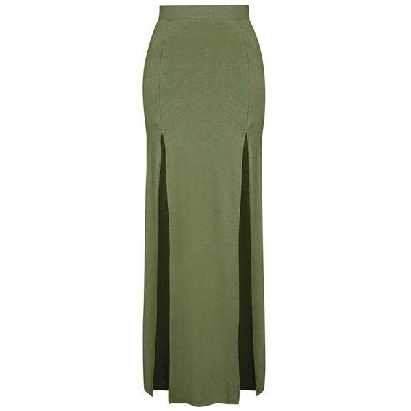 Women's Topshop Double Slit Maxi Skirt ($38) ❤ liked on Polyvore featuring skirts, bottoms, long skirts, ankle length skirt, topshop skirts, double slit skirt and long stretchy skirts