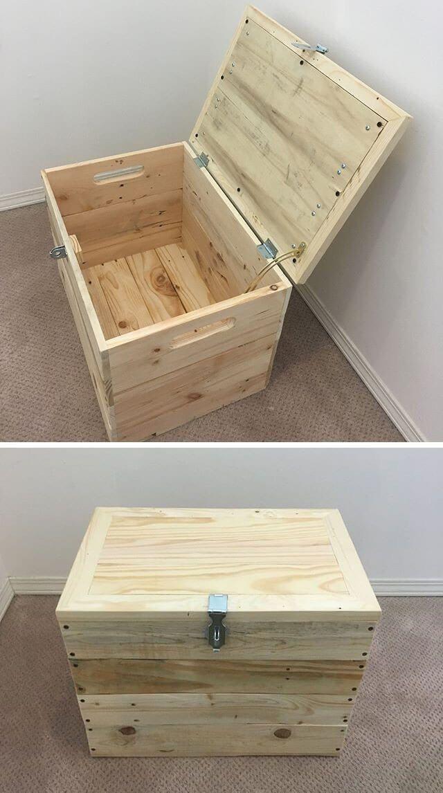 Great Job Pallet Storage Box In 2020 Wood Storage Box Pallet Projects Furniture Furniture Projects