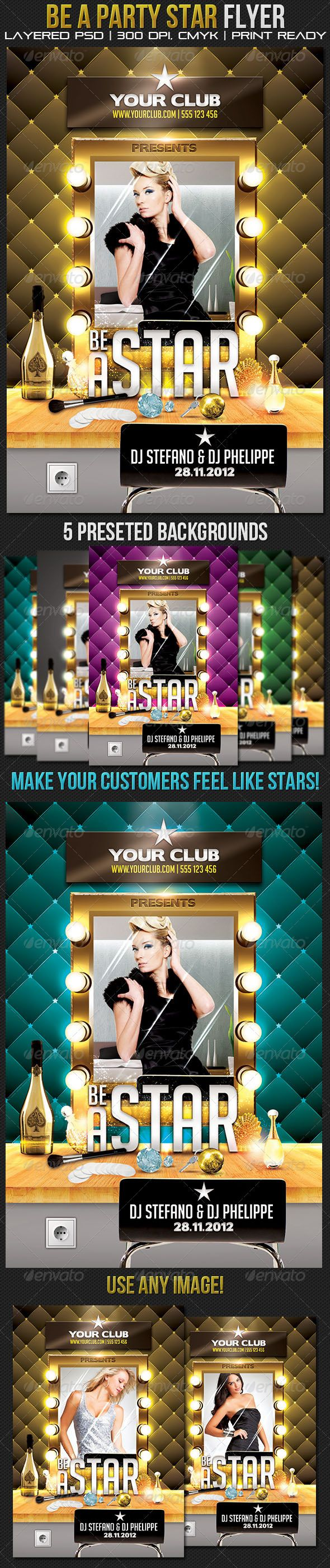 10 images about print templates fonts flyer be a party star flyer template