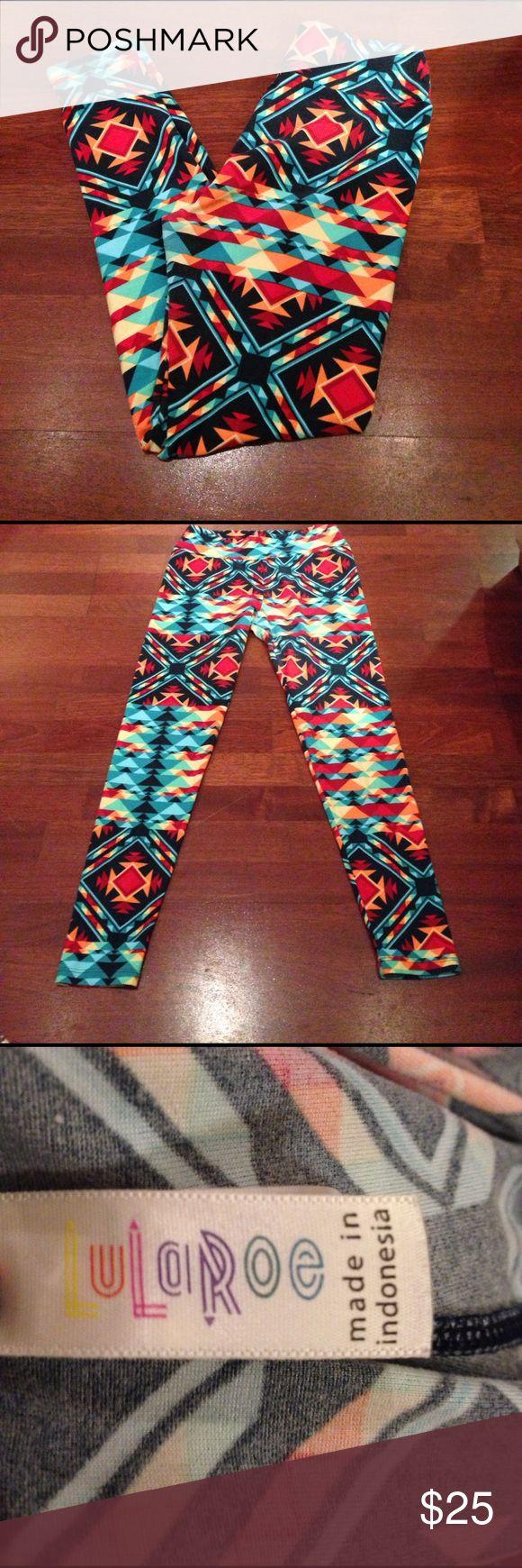 Lula Roe Leggings Fun Azteca printed legging, bright with lots of different colors! LuLaRoe Pants Leggings