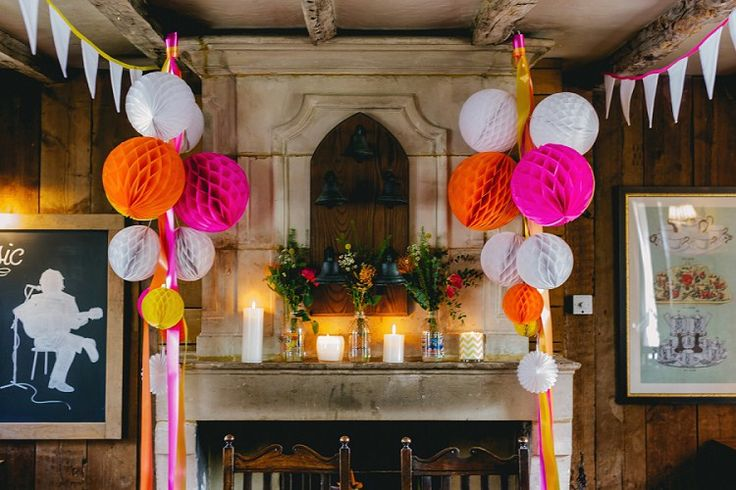 Honeycomb Lanterns Balls Ribbon Bunting Colourful Neon Country Pub Wedding http://www.theimagegarden.co.uk/