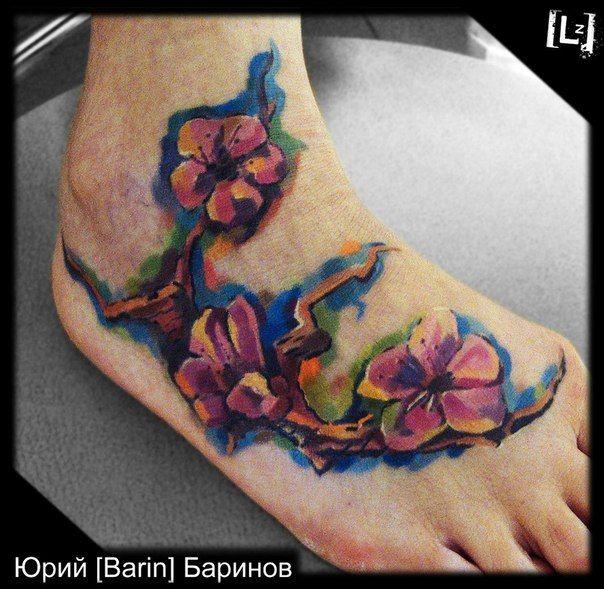 сакура #tattoo #tattoo_artist #artist #Barin #color #expression #style #master #russia #тату #татуировка #татуировщик #Юрий_Баринов #экспрессия #цвет #стиль #спб #питер #мастер