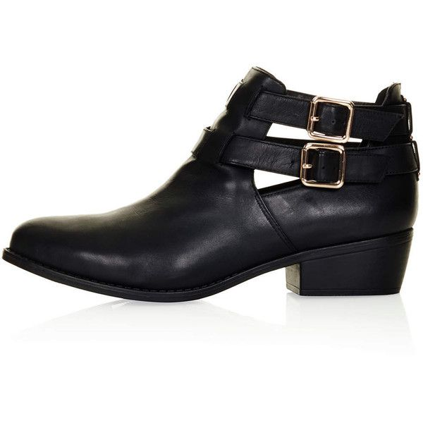 TOPSHOP MONTI2 Cutout Boots (1.650 UYU) ❤ liked on Polyvore featuring shoes, boots, botas, sapatos, topshop, black, topshop boots, black cutout boots, cut out shoes and black cut out shoes