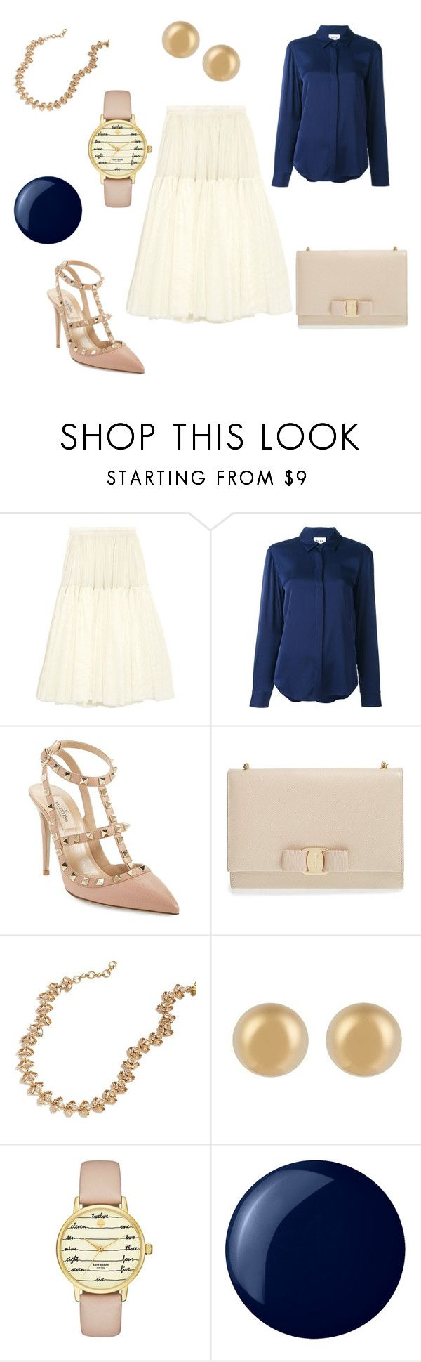 """""""Fashion Weekend: September 17th & September 18th"""" by antiadamo on Polyvore featuring Needle & Thread, DKNY, Valentino, Salvatore Ferragamo, J.Crew, J.W. Anderson, Kate Spade and Essie"""
