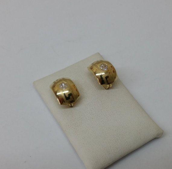Ohrringe Gold 585 Ohrhänger Mäander Kristall OR105 von Schmuckbaron