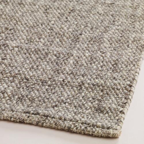 Light Gray Emilie Flatweave Sweater Wool Area Rug | World Market